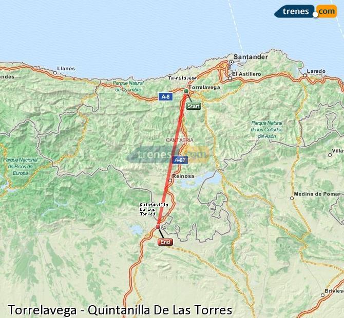 Enlarge map Trains Torrelavega to Quintanilla De Las Torres