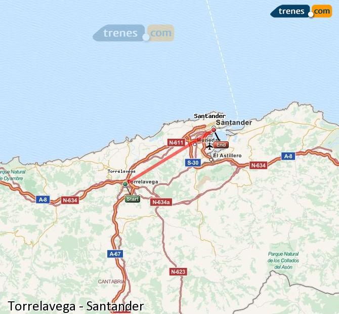 Ampliar mapa Trenes Torrelavega Santander