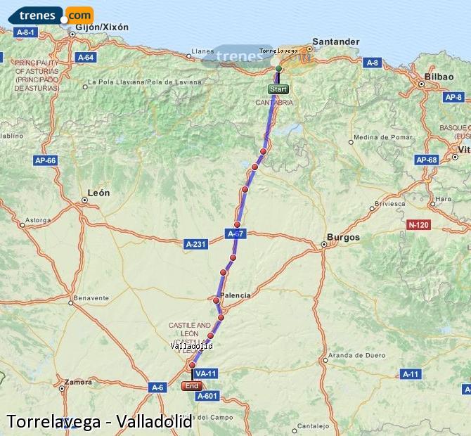Enlarge map Trains Torrelavega to Valladolid