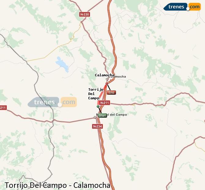 Agrandir la carte Trains Torrijo Del Campo Calamocha