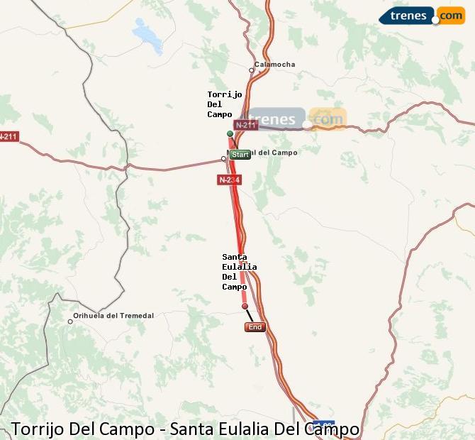 Agrandir la carte Trains Torrijo Del Campo Santa Eulalia Del Campo