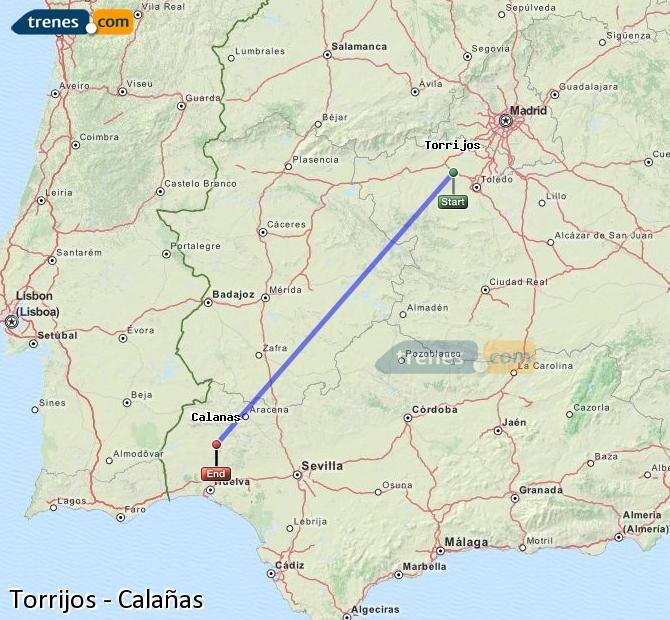 Enlarge map Trains Torrijos to Calañas