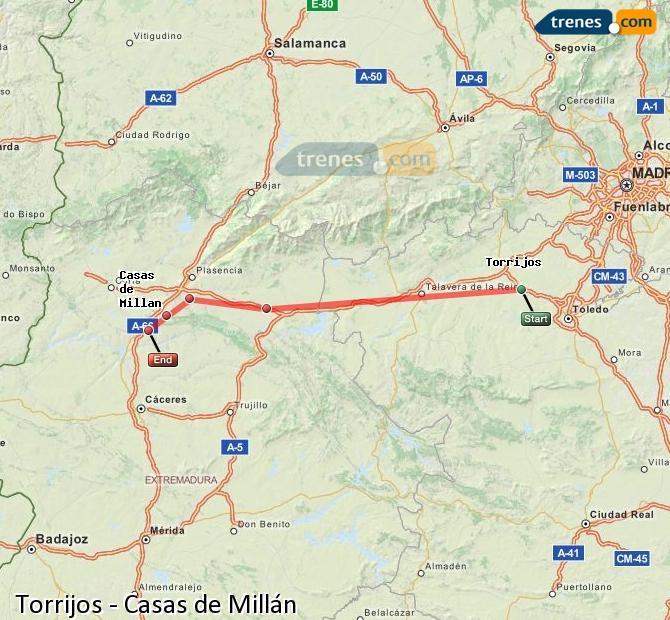 Ingrandisci la mappa Treni Torrijos Casas de Millán