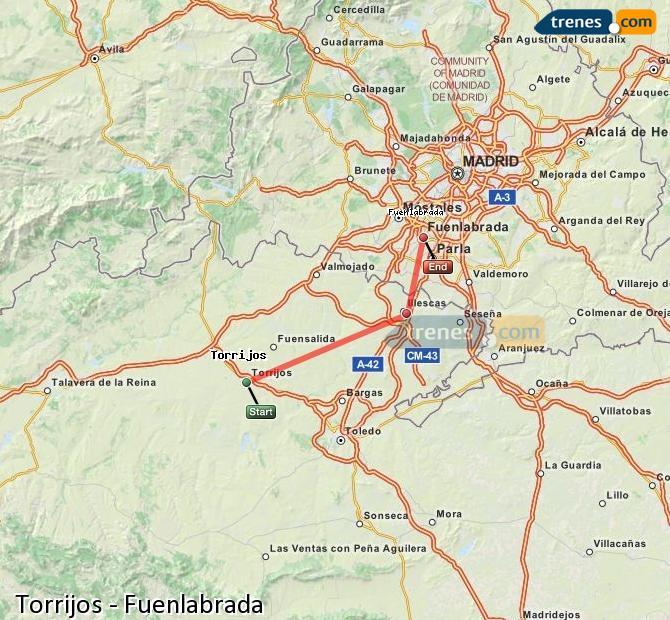 Karte vergrößern Züge Torrijos Fuenlabrada