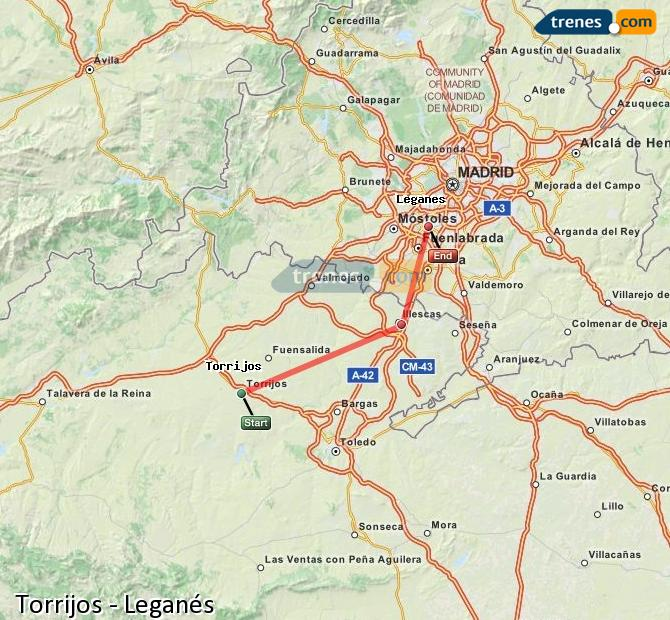 Enlarge map Trains Torrijos to Leganes