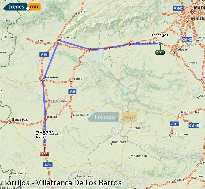 Enlarge map Trains Torrijos to Villafranca De Los Barros