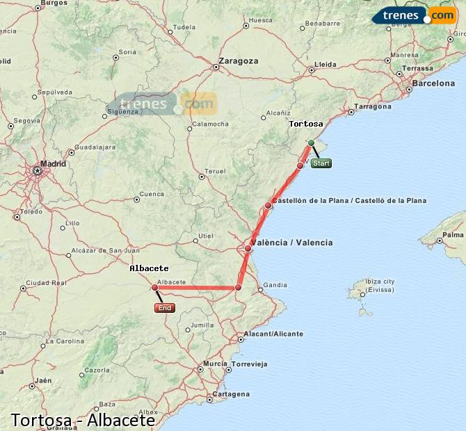 Enlarge map Trains Tortosa to Albacete