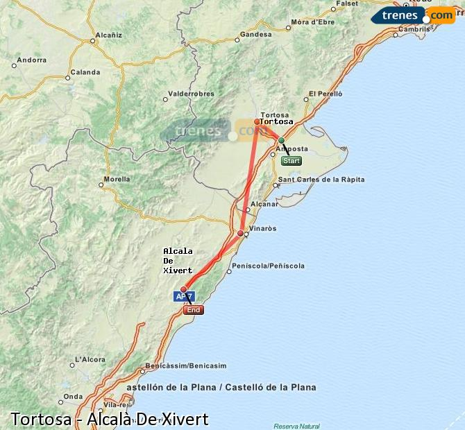 Enlarge map Trains Tortosa to Alcalà De Xivert