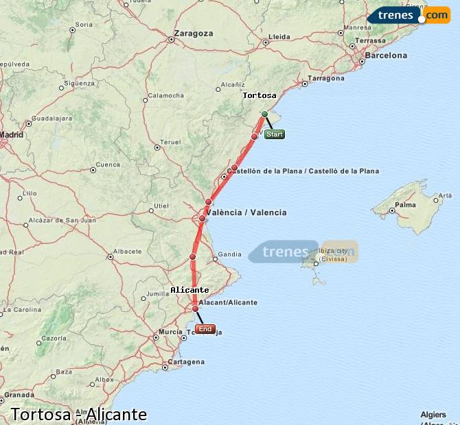 Enlarge map Trains Tortosa to Alicante