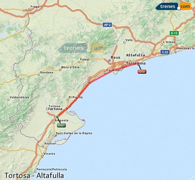 Ingrandisci la mappa Treni Tortosa Altafulla