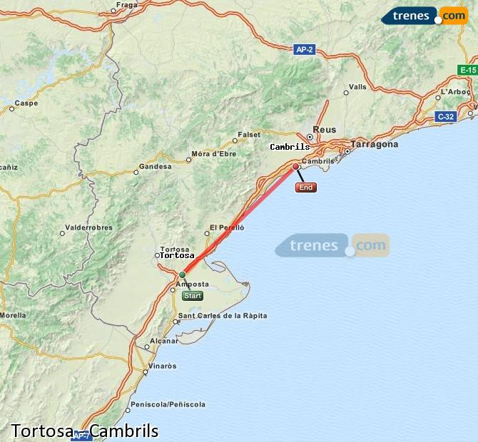 Enlarge map Trains Tortosa to Cambrils