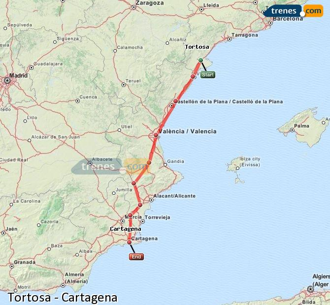 Enlarge map Trains Tortosa to Cartagena