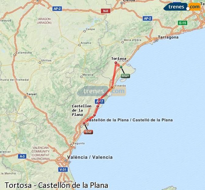 Karte vergrößern Züge Tortosa Castellón