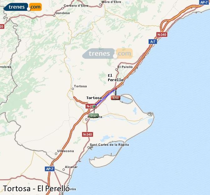 Ampliar mapa Trenes Tortosa El Perelló