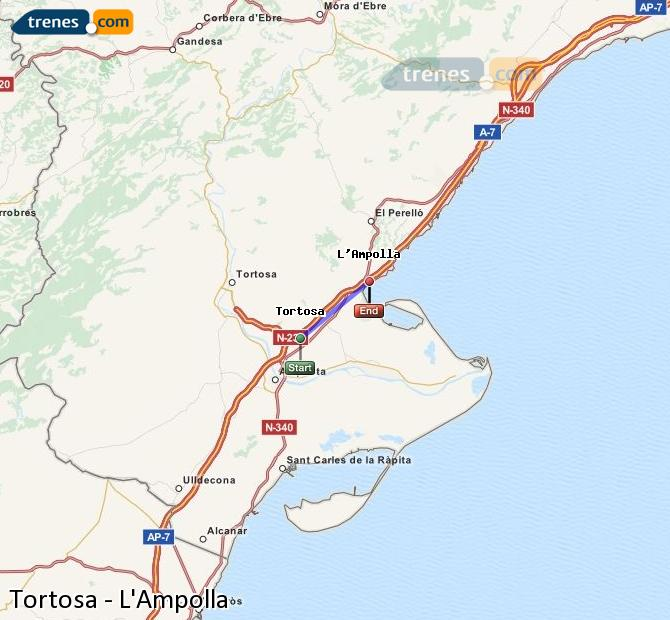 Enlarge map Trains Tortosa to L'Ampolla