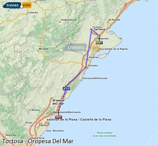 Enlarge map Trains Tortosa to Oropesa Del Mar