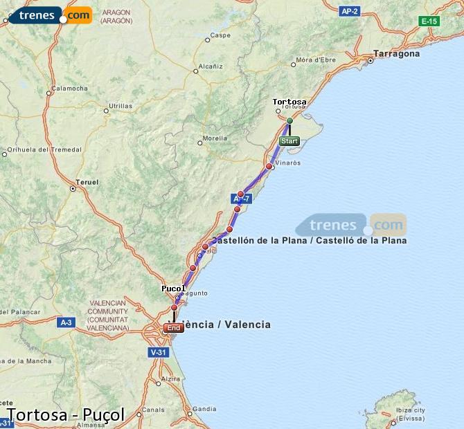 Enlarge map Trains Tortosa to Puçol