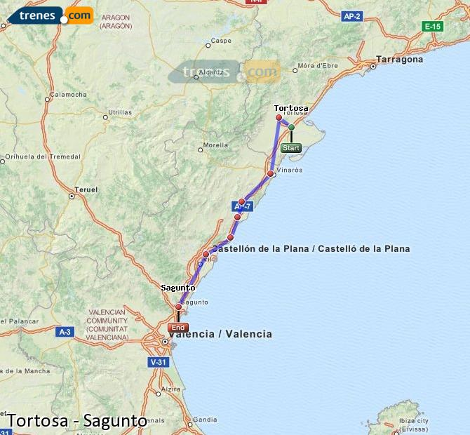 Enlarge map Trains Tortosa to Sagunto