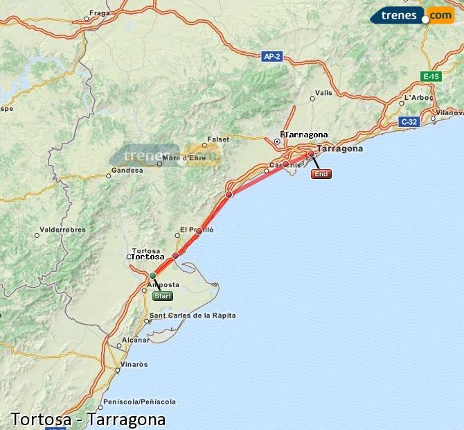 Enlarge map Trains Tortosa to Tarragona