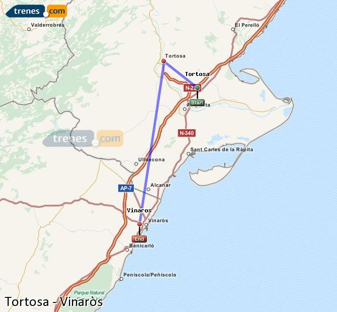 Ingrandisci la mappa Treni Tortosa Vinaròs