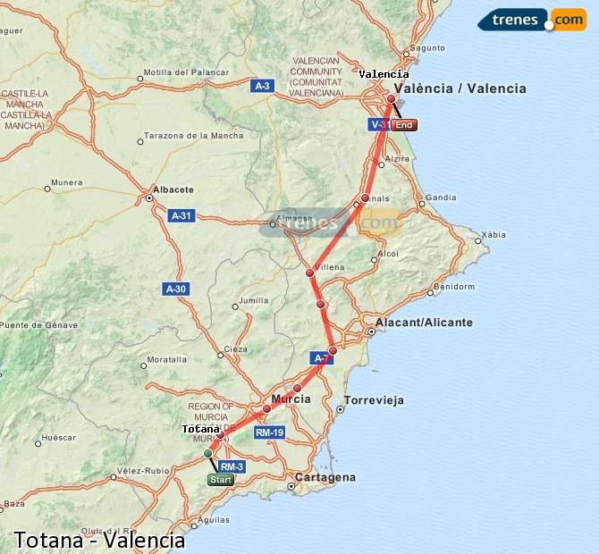 Enlarge map Trains Totana to Valencia