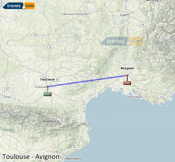 Ingrandisci la mappa Treni Tolosa Avignon