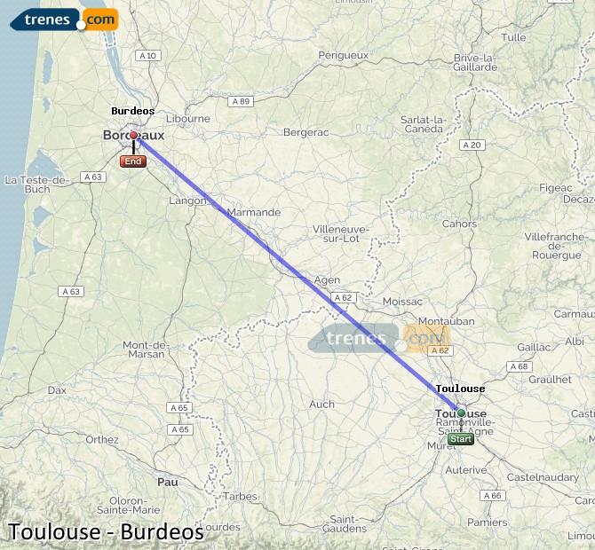 Agrandir la carte Trains Toulouse Bordeaux