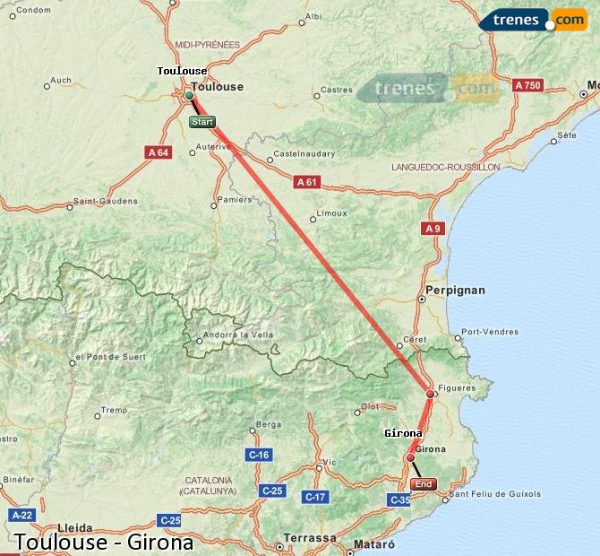 Ampliar mapa Trenes Toulouse Girona
