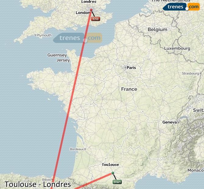 Ingrandisci la mappa Treni Tolosa London