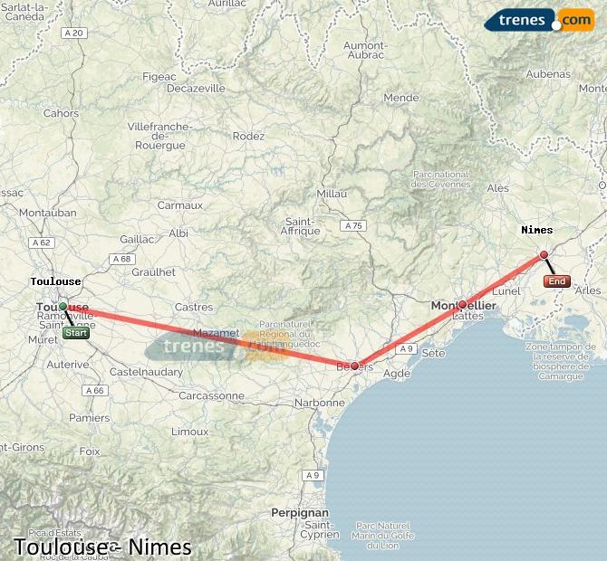 Ampliar mapa Comboios Toulouse Nimes