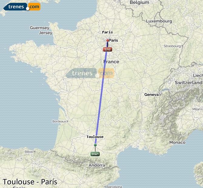Ampliar mapa Comboios Toulouse Paris