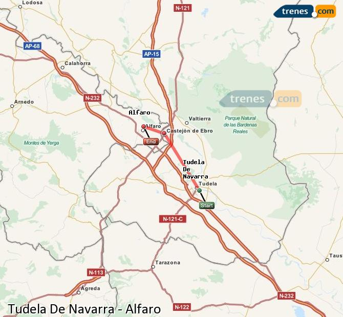 Enlarge map Trains Tudela De Navarra to Alfaro
