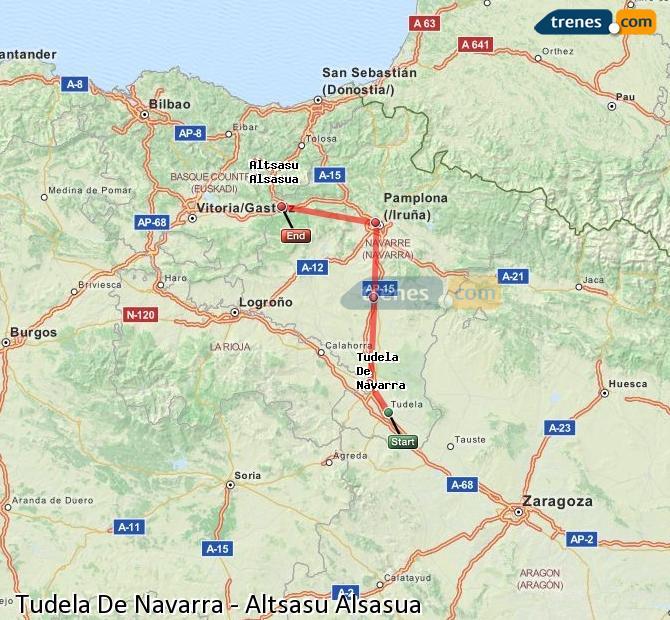 Ampliar mapa Trenes Tudela De Navarra Altsasu Alsasua