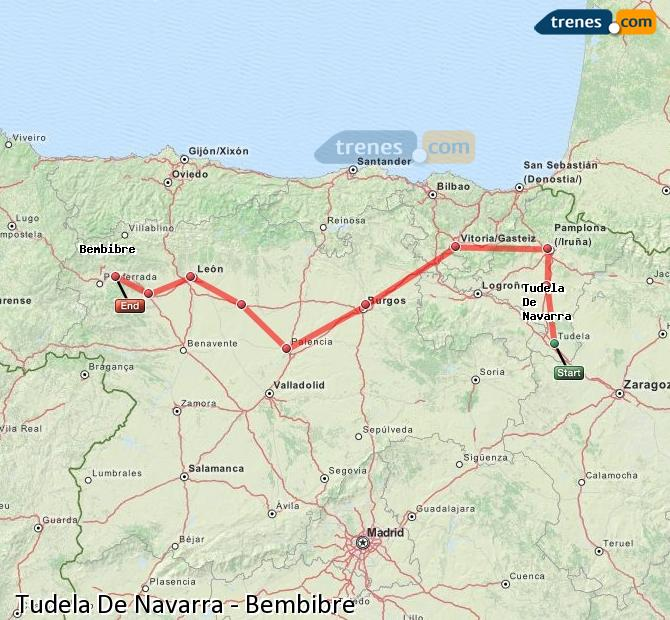 Agrandir la carte Trains Tudela De Navarra Bembibre