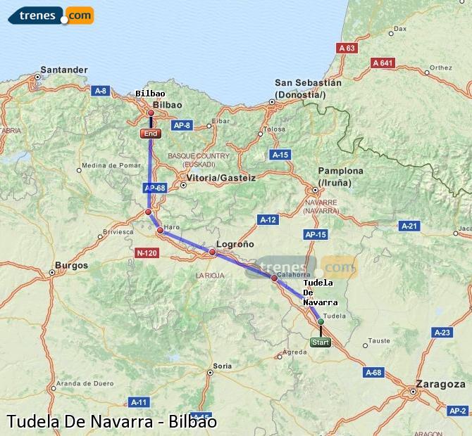 Ampliar mapa Trenes Tudela De Navarra Bilbao