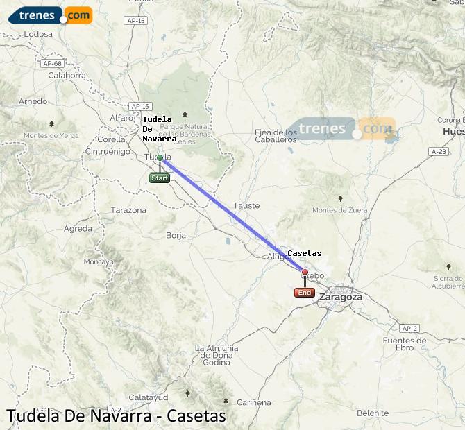 Karte vergrößern Züge Tudela De Navarra Casetas