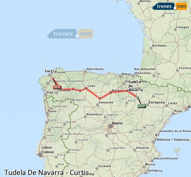 Agrandir la carte Trains Tudela De Navarra Curtis