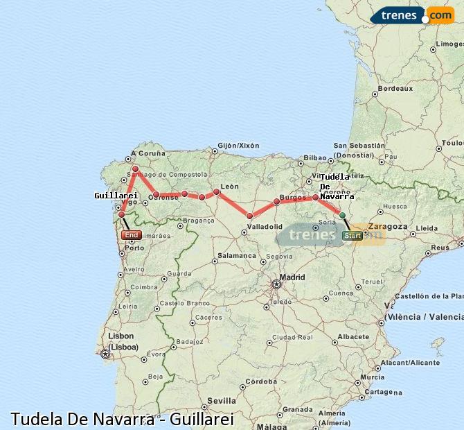 Ingrandisci la mappa Treni Tudela De Navarra Guillarei