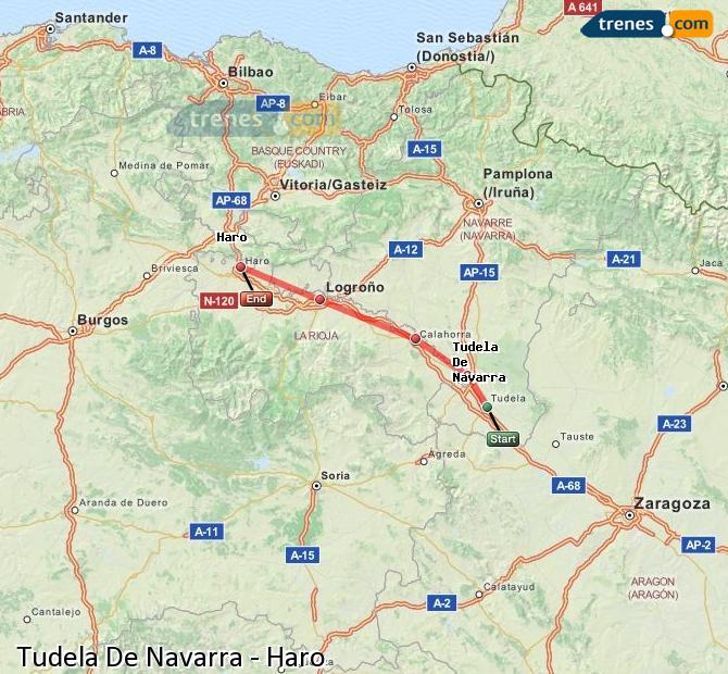 Ampliar mapa Trenes Tudela De Navarra Haro