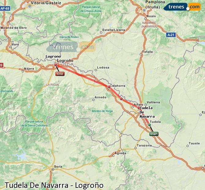 Ampliar mapa Trenes Tudela De Navarra Logroño