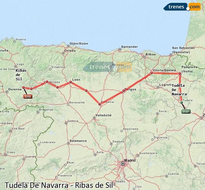 Ampliar mapa Comboios Tudela De Navarra Ribas de Sil