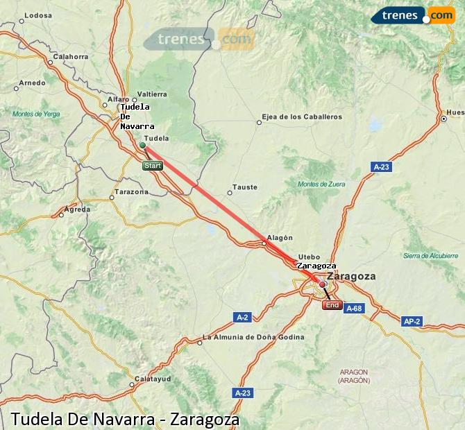 Enlarge map Trains Tudela De Navarra to Zaragoza
