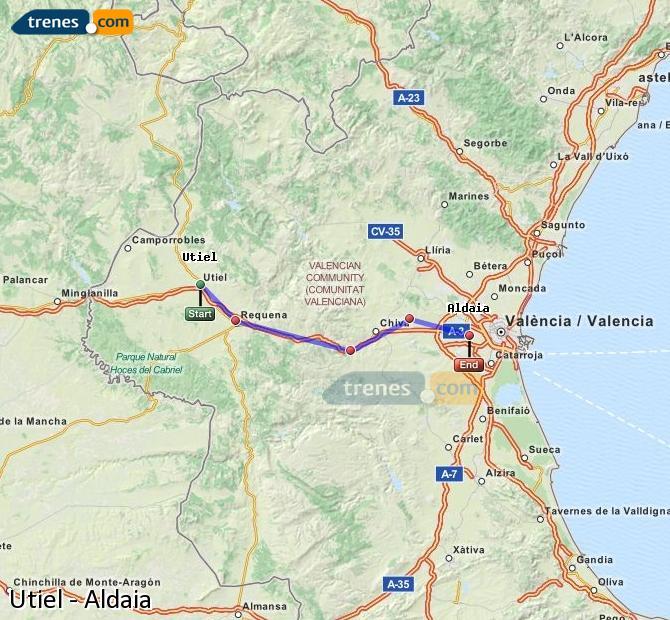 Enlarge map Trains Utiel to Aldaia