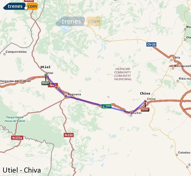 Ampliar mapa Comboios Utiel Chiva