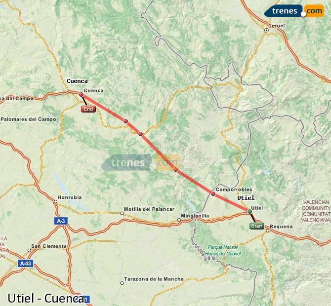 Karte vergrößern Züge Utiel Cuenca