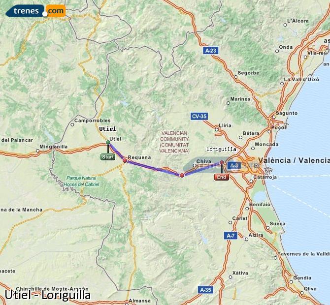 Enlarge map Trains Utiel to Loriguilla
