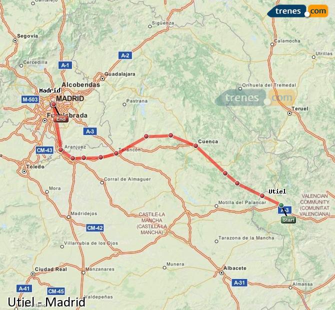 Karte vergrößern Züge Utiel Madrid