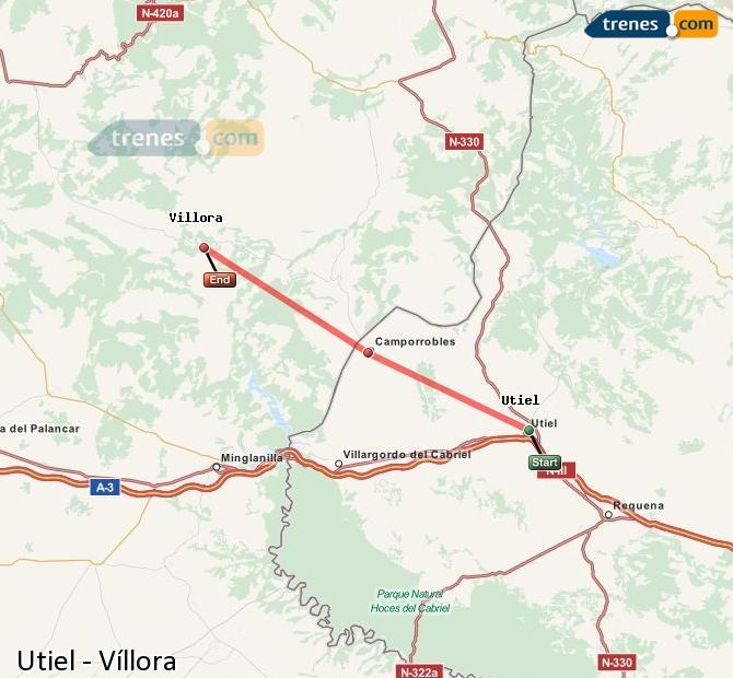 Enlarge map Trains Utiel to Víllora