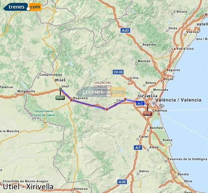 Enlarge map Trains Utiel to Xirivella