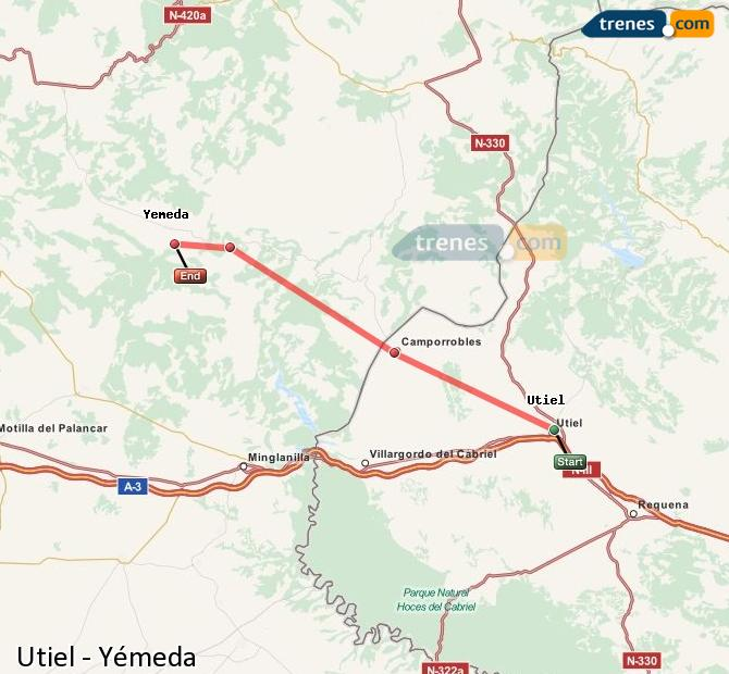 Karte vergrößern Züge Utiel Yémeda